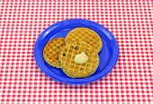 Three Blueberry Waffles On Plate