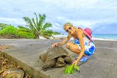 Happy Caucasian Tourist Woman Near Anse Severe In La Digue With Aldabra Giant Tortoise, Aldabrachely poster