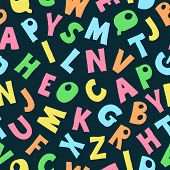 Vector Cute English Hand Drawn Alphabet, Simple Kids Drawing Style. Seamless Pattern With Colorful L poster