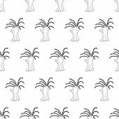 Hand Drawn Pussy Willow Trees, Seamless Vector Pattern. Black And White Line Art. poster