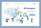 Isometric Hr Manager, Consideration Of The Summary, Recruiting Concept. Template Landing Page. poster