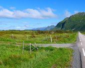 Road Through Gimsoya Island Landscape In Vagan Municipality Nordland County, Lofoten Archipelago Nor poster