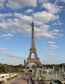 French View With Eiffel Tower From Trocadero Area With Fountains And Many People poster