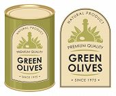 Label For Green Olives Decorated By Olives And Decanter In Retro Style On The Olive Background. Vect poster