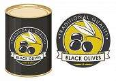 Label For Black Olives Decorated By Olive Twig With Berries And Ribbon In Retro Style On The Olive B poster