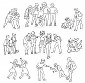 Outline Sets Of Conflict And Fights, Abuse, Bullying With Aggressive School Bully And Victim. poster