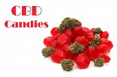 CBD and THC Candy. Recreational THC Candies. Isolated on white. Room for text. Medical CBD Candy.  poster