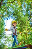 Happy Child Climbing In The Trees. Balance Beam And Rope Bridges. Roping Park. Climber Child On Trai poster