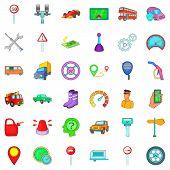 Large Car Icons Set. Cartoon Set Of 36 Large Car Icons For Web Isolated On White Background poster