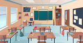 Classroom Interior. School Or College Room With Desks Chalkboard Teacher Items For Lesson Vector Car poster