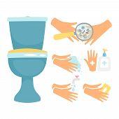 Hygiene After Toilette Vector Illustration, Flat Design. Hygiene Toilet, Clean And Wash Hands poster