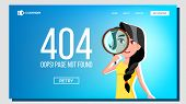 Oops Page Not Found 404 Error Landing Page Vector. Character Female Looking Through Magnifying Glass poster