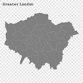 High Quality Map Of Greater London Is A County Of England, With Borders Of The Districts poster