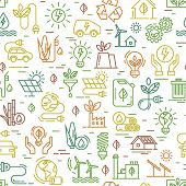 Vector Design With Seamless Ecology Pattern And Green Energy Concept In The Trendy Line Style. Seaml poster