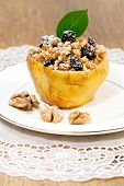 Fruit Quince With Cottage Cheese And Nuts