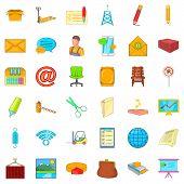 Postal Correspondence Icons Set. Cartoon Set Of 36 Postal Correspondence Icons For Web Isolated On W poster
