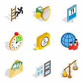 Contribute Icons Set. Isometric Set Of 9 Contribute Icons For Web Isolated On White Background poster