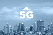 Communication Network Concept 5g Smart City On Blue Background. 5g Network Wireless Systems And Inte poster