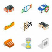 Capital Repair Icons Set. Isometric Set Of 9 Capital Repair Icons For Web Isolated On White Backgrou poster