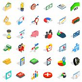 Financial Contribution Icons Set. Isometric Set Of 36 Financial Contribution Icons For Web Isolated  poster