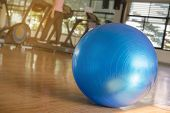 Exercise Blue Color Ball In Fitness, Gym Equipment And Fitness Balls In Sports Club.sports Outdoors poster