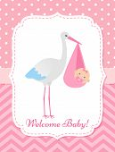 Baby Shower Invitation Card. Vector. Baby Girl Banner. Welcome Template Invite. Pink Design. Cute Bi poster