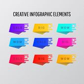 Abstract Colorful Background Stickers Infographic Design. Creative Colorful Stickers Infographic Des poster