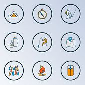 Tourism Icons Colored Line Set With Tent, Map, Bonfire And Other Campfire Elements. Isolated Vector  poster
