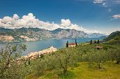Panorama Of Sirmione Village And Lake Garda, Italy