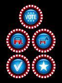 Botões e emblemas de campanha política.