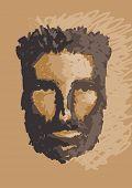 holbewoner portret. vector hand tekenen illustratie.