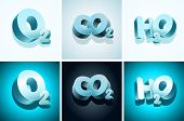3d molecular symbols. oxygen, carbon dioxide, water.