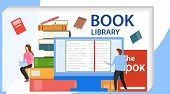 Media Book Library Concept. Vector Illustration Of Online Library. E-book, Reading An Ebook To Study poster