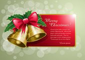 Christmas bells banner vector illustration. Elements are layered separately.