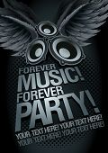 Forever Music Forever Party! Music concept poster template. Elements are layered separately in vecto