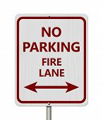 Red And White No Parking Sign,white Highway Sign With Text No Parking Fire Lane With Arrow Isolated  poster