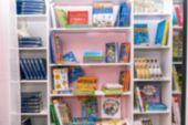 Books On The Shelf. Blurred Image Of Bookshelves. School Class With Books. Educational Institution,  poster