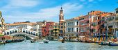 Rialto Bridge Over Grand Canal, Venice, Italy. It Is A Famous Landmark Of Venice. Panorama Of The Ol poster