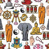 Buddhism Symbols, Meditation And Buddhist Religion Seamless Pattern. Vector Buddha Monk Mudra With B poster