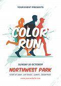 Color Run Flyer Template. Sport Marathon Flyer poster