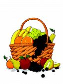Variety Of Fresh Fruits In A Basket