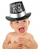 Happy New Year babyjongen, studio geïsoleerd op wit.