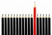 Red Pencil Among Black Pencils