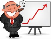 Business Cartoon - Cartoon Boss Man Satisfied with Chart