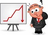 Business Cartoon - Boss Man Surprised at Chart