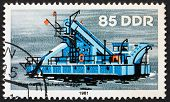 Postage Stamp Gdr 1981 Bucket Dredger, River Boat