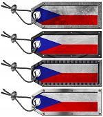 Czech Republic Flags Set Of Grunge Metal Tags