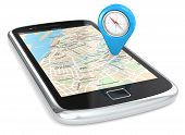 stock photo of gps navigation  - Black Smartphone - JPG