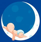 pic of sleeping baby  - Vector illustration Baby sleeping on moon  - JPG