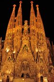 BARCELONA, SPAIN - AUGUST 15: Sagrada Familia at night on August 15, 2012 in Barcelona, Spain. The i